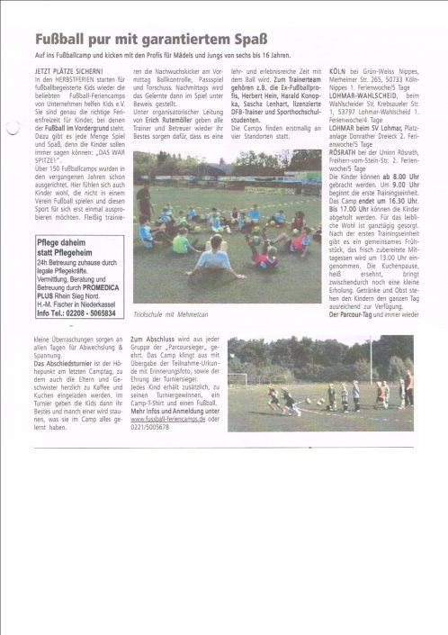 Fussballferiencamps in Lohmar