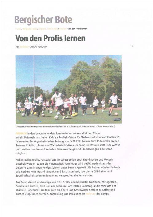 Ferienfussballcamps Rösrath 26.06.2017